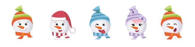 Ställ in av grafiska Emoticons - snowmans Samling av emoji Leendesymboler vektor illustrationer