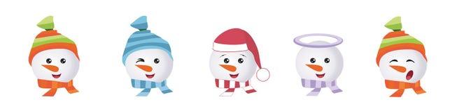 Ställ in av grafiska Emoticons - snowmans Samling av emoji Leendesymboler stock illustrationer