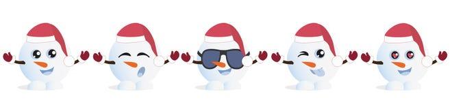 Ställ in av grafiska Emoticons - snowmans Samling av emoji Leendesymboler royaltyfri illustrationer