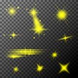 Ställ in av gula linssignalljus Guling mousserar special ljus effekt för sken royaltyfri illustrationer