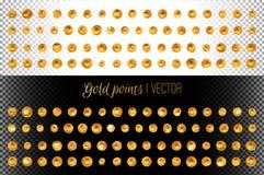 Ställ in av guld- målarfärg befläcker isolerat Shoppa etiketter och symboler vektor illustrationer