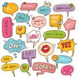 Ställ in av gullig anförandebubbla i klotterstil stock illustrationer