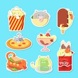 Ställ in av gulliga katter med mat Kawaii vektorkatter stock illustrationer