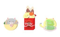 Ställ in av gulliga katter med mat Kawaii vektorkatter royaltyfri illustrationer