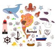 Ställ in av gulliga nautiska beståndsdelar Vektorn räcker utdraget stock illustrationer