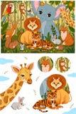 St?ll in av gulliga skogdjur i retro tappningf?rger royaltyfri illustrationer
