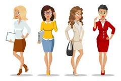 Ställ in av gulliga unga kvinnors in härliga stil Teckendesign Affärsflickor Kontorsdamer Attraktiva unga kvinnor stock illustrationer