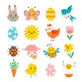 Ställ in av gulliga vårdesignbeståndsdelar för påsk stock illustrationer