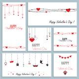 Ställ in av hälsa kort för valentins dag, vektorillustration av den plana designen royaltyfri illustrationer