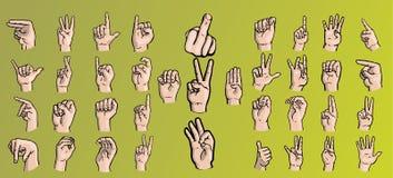 Ställ in av händer i en variation av gester vektor illustrationer