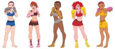 Ställ in av härliga sexiga sportflickor i boxninghandskar vektor illustrationer