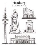 Ställ in av hand-drog Hamburg byggnader som beståndsdelar skissar illustrationen stock illustrationer