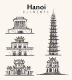 Ställ in av hand-drog Hanoi byggnader Hanoi skissar illustrationen royaltyfri illustrationer
