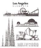 Ställ in av hand-drog Los Angeles byggnader som beståndsdelar skissar vektorillustrationen royaltyfri illustrationer