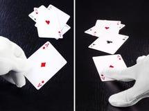 Ställ in av handen av återförsäljaren i vita handskar i en kasino som räcker nolla royaltyfria bilder