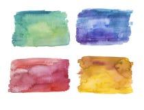 Ställ in av handen målade vattenfärgbakgrunder, grönt, blått, rött och gult royaltyfri illustrationer