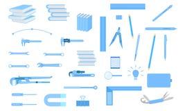 Ställ in av hjälpmedelutrustning för technicain för konstnär för teknikerutbildningsdesign Vektorillustration EPS10 stock illustrationer