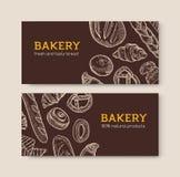 Ställ in av horisontalbanermallar med läckra bröd och smakliga bakade produkthanden som dras med konturlinjer på mörker royaltyfri illustrationer