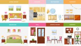 Ställ in av 8, huset för inre somdesignen hyr rum med möblemang: vardagsrum sovrum, kök, inrikesdepartementet, matsal, barnkammar royaltyfri illustrationer