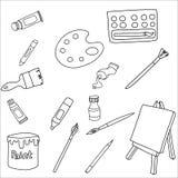 Ställ in av illustration för vektor för konstmaterialsymbol vektor illustrationer