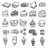Ställ in av illustrationer för vektorklotterbilder - olika sorter av vektor illustrationer