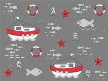 Ställ in av illustrationer av symboler för havsliv, sömlös tapet stock illustrationer