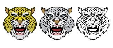 Ställ in av ilskna leopardhuvud vektor illustrationer