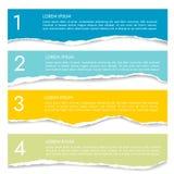 Ställ in av infographics för fyra färg av sönderrivet papper med nummer och te arkivbild