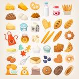 Ställ in av ingredienser för att laga mat bröd Bagerisymboler royaltyfri foto