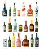 Ställ in av isolerade alkohol- eller fyllaflaskor beverly vektor illustrationer