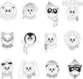 Ställ in av isolerade svartvita tecknad filmdjur i vinterkläder royaltyfri illustrationer