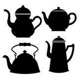 Ställ in av isolerade symbolskonturkokkärl, tekannor, kaffekruka abstrakt designlogo Logotypkonst stock illustrationer