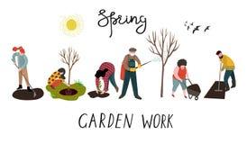 Ställ in av isolerat folk som arbetar i trädgården över att plantera, framkallning av landet och behandling av träd från plågor v stock illustrationer