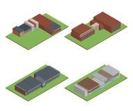 Ställ in av isometriskt och 3D av det modern kontoret, skolabyggnad och ar royaltyfri fotografi