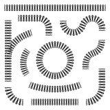 Ställ in av järnvägspår i olika former, rakt och kurvor, vänd och cirklar Svarta järnvägstänger och längsgående stödbjälke vektor illustrationer