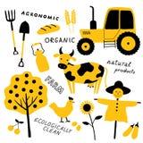Ställ in av jordbruks- och lantgårdhjälpmedel, djur, växter och maskineri Tecknad filmko Illustration för vektor för rolig klotte stock illustrationer