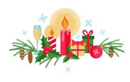 Ställ in av jul och plana beståndsdelar för nytt år på en vit bakgrund royaltyfri illustrationer