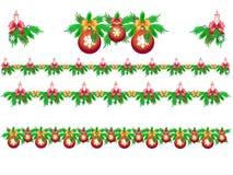 Ställ in av julgirlander av gran med stearinljus, snöflingor och julbollar vektor illustrationer
