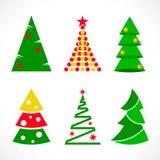 Ställ in av julgranar framlänges royaltyfri illustrationer