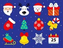 Ställ in av julsymboler i plan stil på blått stock illustrationer