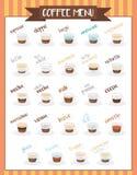 Ställ in av 24 kaffe skriver i illustration för tecknad filmstilvektor royaltyfri illustrationer