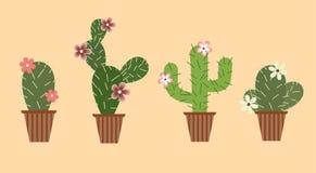 Ställ in av kakturs med blommor i krukor stock illustrationer