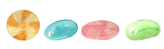 Ställ in av karameller på en vit bakgrund stock illustrationer