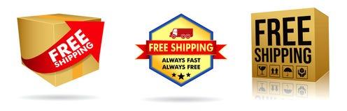 ställ in av kartongen av fri sändnings eller den fria leveransen, i e-kommers shopping vektor illustrationer