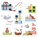 Ställ in av katttillbehörkatter: skrapa posta, huset, säng, mat, toaletten, häftklammermataren, bärare och leker med 8 katter Hus royaltyfri illustrationer