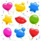 Ställ in av klistermärken för födelsedag Ballonger för ett parti Samling av vektorbeståndsdelar royaltyfri illustrationer
