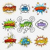 Ställ in av komiskt bubblaanförande vektor illustrationer