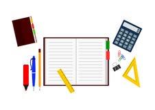Ställ in av kontorsobjekt: anteckningsbok med pennan och blyertspenna, räknemaskin och linjaler royaltyfri illustrationer