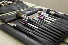 Ställ in av kosmetiska borstar i ett svart läderfall arkivbild
