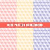 Ställ in av kubmodell rosa, purpurfärgad gul färgbakgrund och textur royaltyfri illustrationer